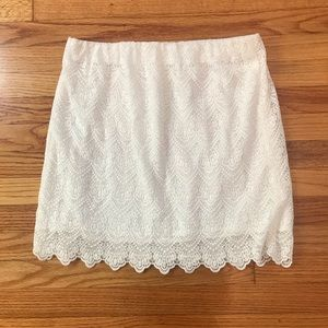J Crew White Lacey Embroidered Skirt Size 8